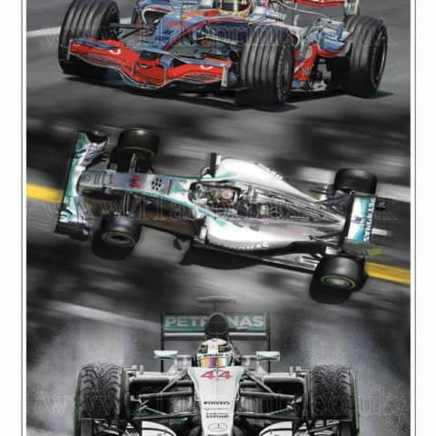 "Lewis Hamilton ""Triple Champion"" World Champion 2008, 2014, 2015 Limited Edition Art Print from an original painting."