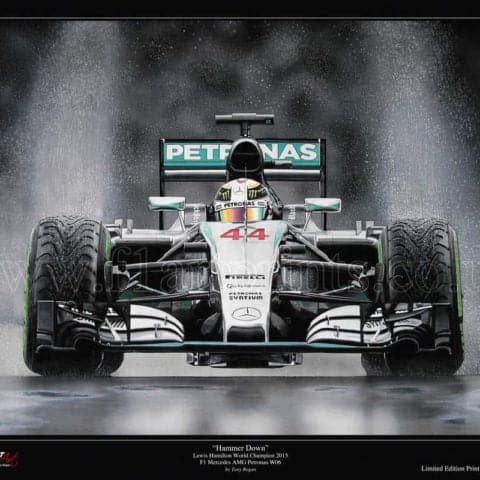 "Lewis Hamilton ""Hammer Down"" F1 Mercedes AMG Petronas W06 World Champion 2015 REMARQUED HAND EMBELLISHED Ltd Edition Art Print"
