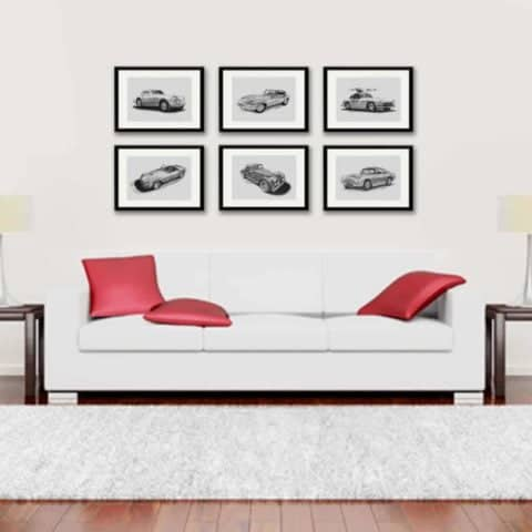 Set of six framed Limited Edition prints of iconic 'Classic Cars of the 60's' faithfully reproduced from pencil drawings by Tony Regan