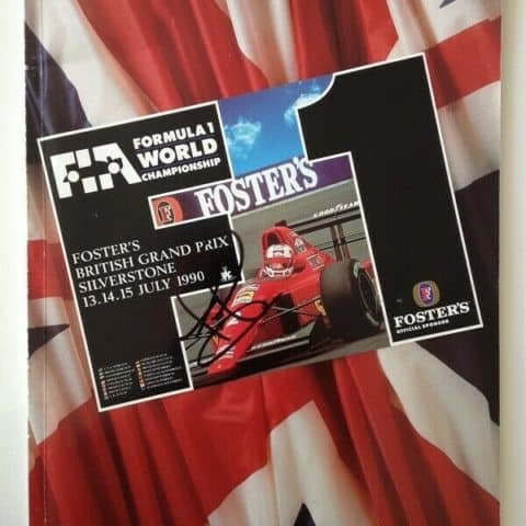1990 British Grand Prix Race Programme Hand Signed By Nigel Mansell + Race Card