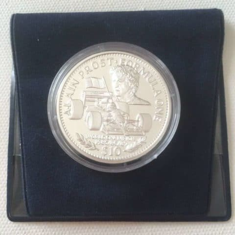 RARE Alain Prost $10 Silver Commemorative Coin 1992 F1 Republic Of Liberia + COA