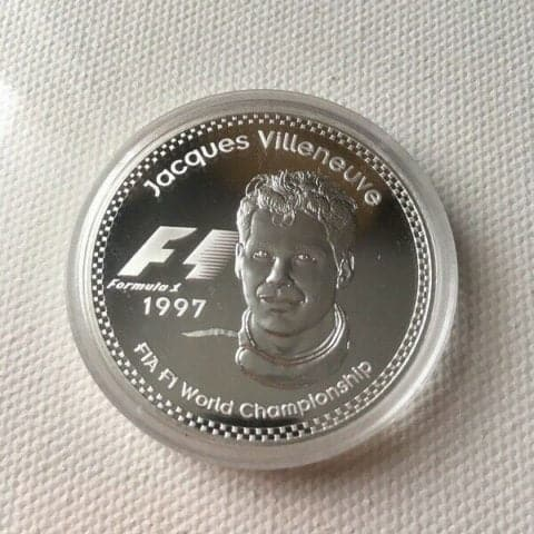 Rare 1997 Jacques Villeneuve Commemorative 25 Euro Silver Coin F1 With COA
