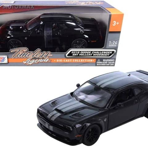 2018 Dodge Challenger SRT Hellcat Widebody Black with Silver Stripes 1/24 Diecas 2018 Dodge Challenger SRT Hellcat