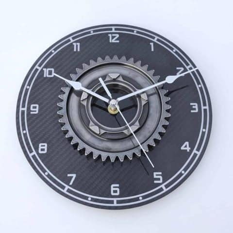 "Large 9"" Marussia F1 gear workshop wall clock with real carbon fiber Formula 1 racing motorsport office gift"