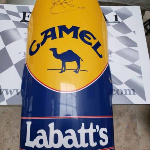 NOW SOLD-Nigel Mansell used and signed Williams FW14 front suspension panel