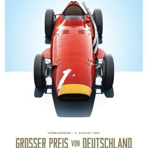 Maserati 250F - Juan Manuel Fangio - Red - German GP - Limited Poster