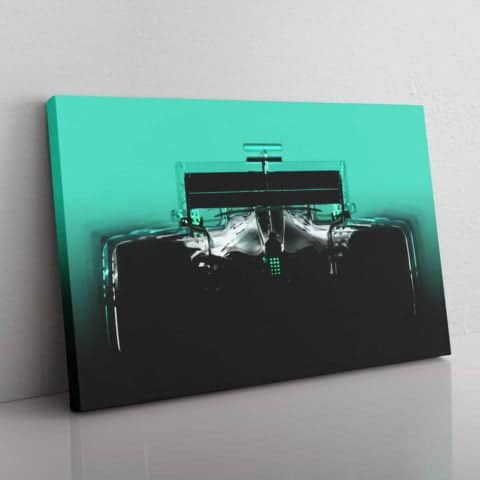 Mercedes F1 inspired silhouette wall canvas