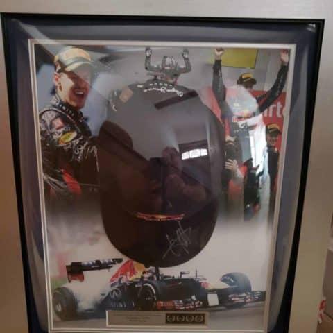 NOW SOLD-Seb Vettel signed framed Red Bull cap