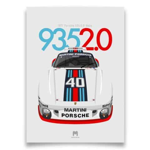 1977 Porsche 935/2.0 Baby - Martini - Limited Edition poster print