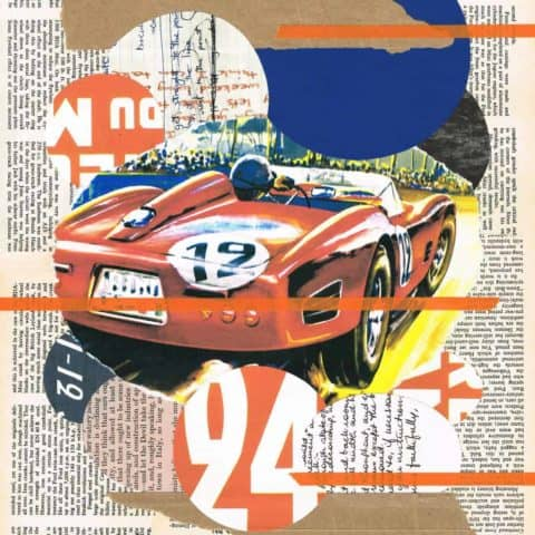 Vintage Le Mans 24 abstract (No.12) | Print from an original collage