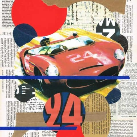 Vintage Le Mans 24 abstract (No.24) | Print from an original collage