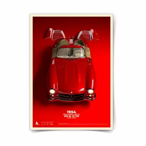 Mercedes Poster 300 SL Gullwing automotive racing icons car art illustration 50 x 70 design print kids