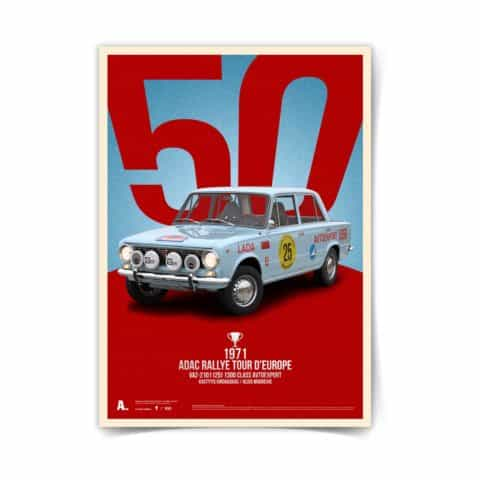 VAZ-2101 Lada Poster Zhiguli Tour d'Europe 1971 classic print automotive racing icons car art illustration 50 x 70 design print kids