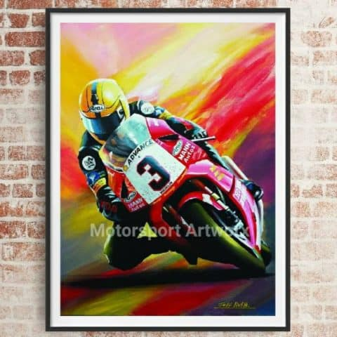Joey Dunlop limited edition art print by jeff Rush Motorcycle racing poster road racing poster TT poster gifts for bikers isle of man poster