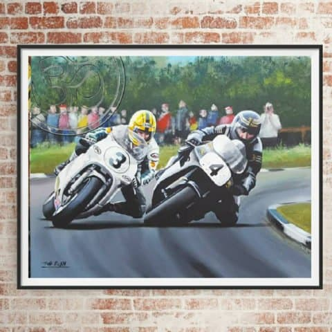Joey Dunlop Robert Dunlop limited edition art print by Jeff Rush Motorcycle racing poster road racing poster TT poster gifts for bikers