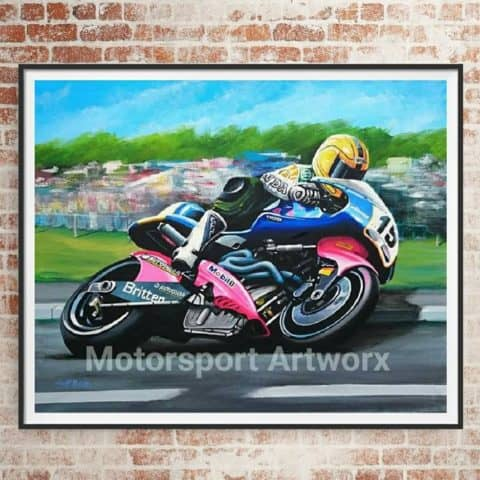 Joey Dunlop riding the Britten Limited edition art print by Jeff Rush Motorcycle racing poster Road racing poster TT poster gifts for bikers