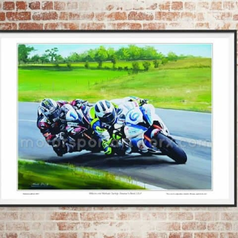 William and Michael Dunlop, limited edition art print by Jeff Rush Motorcycle racing poster Road racing poster TT poster gifts for bikers