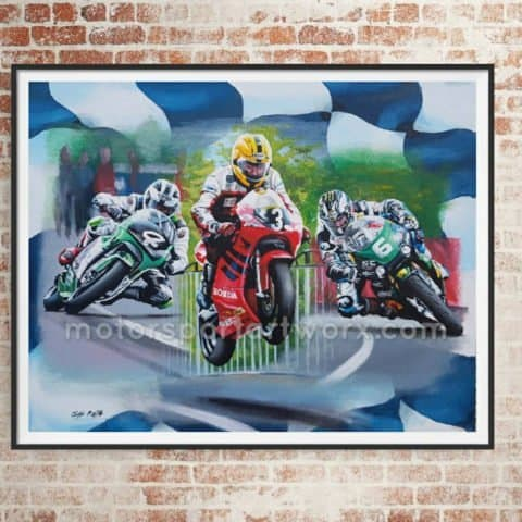 50 Dunlop Dynasty TT Victories. Limited edition art print by Jeff Rush Motorcycle racing poster Road racing poster TT