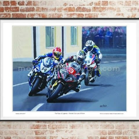 Race of Legends limited edition art print by Jeff Rush Motorcycle racing poster road racing poster isle of man TT poster gifts for bikers