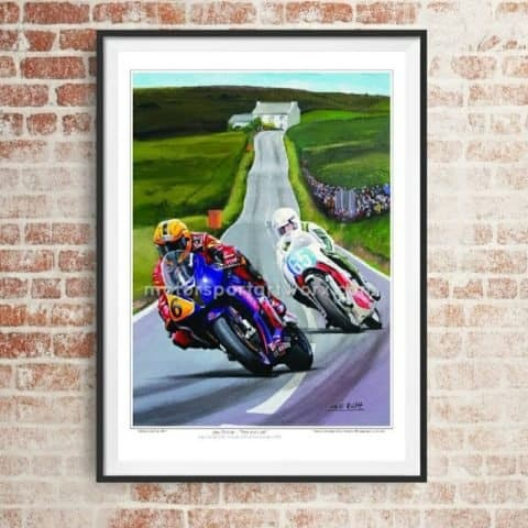 Joey Dunlop limited edition art print by Jeff Rush Motorcycle poster TT Poster road racing poster isle of man TT poster gifts for bikers