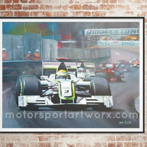 Jenson Button Limited edition art print by Jeff Rush F1 poster Formula one poster F1 art gifts for dads formula one wall art