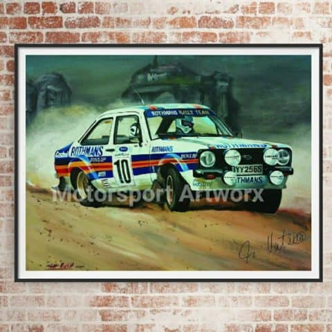 Ari Vatanen. Limited edition art print by Jeff Rush World rally championship poster Ford escort poster