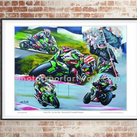 Jonathan Rea Limited edition art print by Jeff Rush Motorcycle racing poster Road racing poster WSB poster gifts for bikers