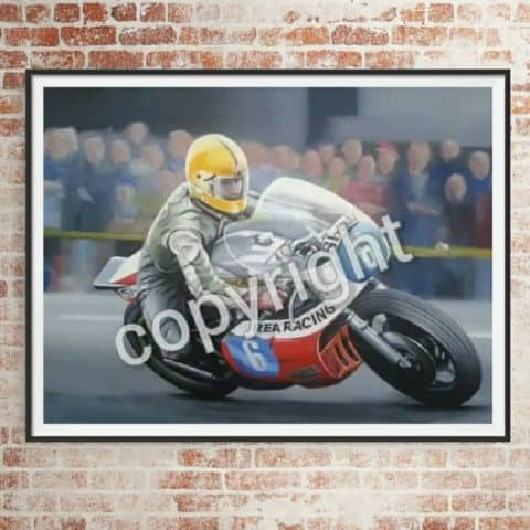 Joey's first TT Victory Limited edition artv print by Jeff Rush Motorcycle racing poster Road racing poster TT poster gifts for bikers
