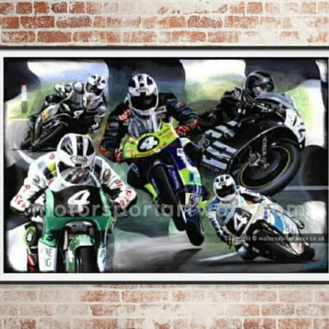 Robert Dunlop Limited Edition art Print by Jeff Rush Motorcycle racing poster road racing poster gifts for bikers isle of man TT poster