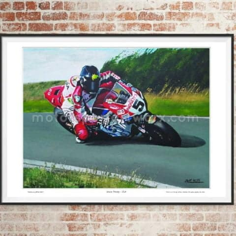 Bruce Anstey limited edition art print by Jeff Rush motorcycle racing poster road racing poster Ulster grand Prix poster gifts for bikers