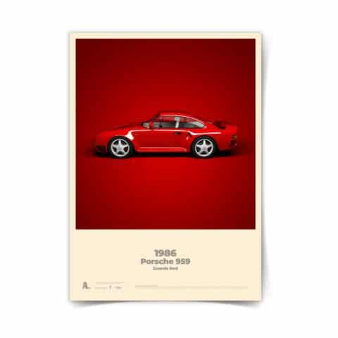 Porsche Poster 959 Guards Red automotive racing icons car art illustration 50 x 70 design print kids