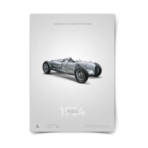 Auto Union Typ A Poster automotive racing icons car art illustration 50 x 70 design print kids