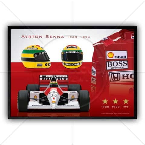 Ayrton Senna montage of his McLaren F1 car, helmet and racing suit 1991