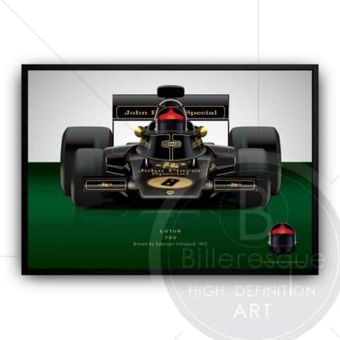 Emerson Fittipaldi 1972 Lotus 72D Formula 1 racing car wall art poster print