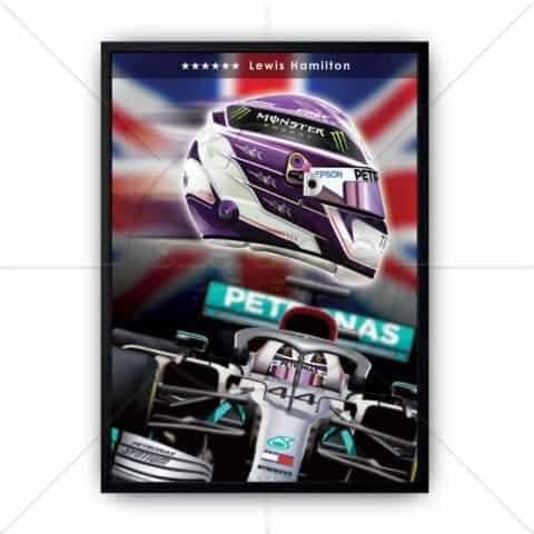 F1 Lewis Hamilton 2020 6x World Champion Impact Poster print wall art