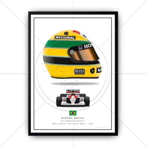 Ayrton Senna's iconic racing helmet and driving his McLaren F1 car in 1991