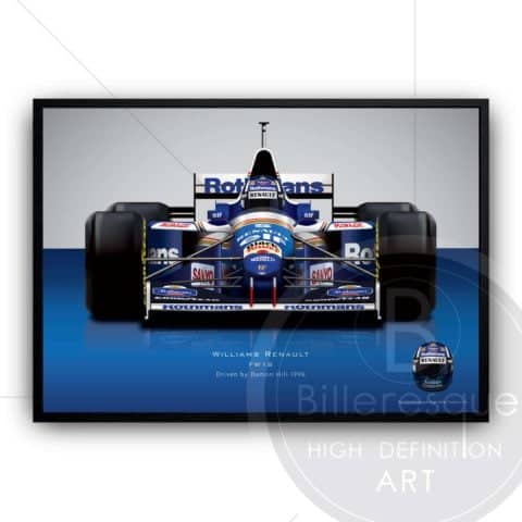 Damon Hill 1996 Williams Renault Formula 1 racing car wall art poster print