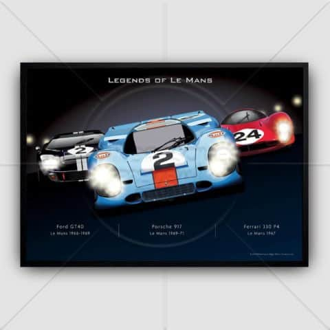 Le mans racing cars Night time Endurance Racing Porsche, Ferrari and Ford GT40 wall art poster print