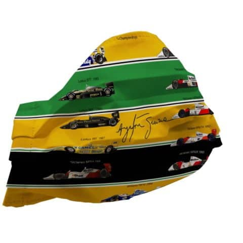 F1 Ayrton Senna's F1 Career, All Cars Inspired FaceMask - 100% High Quality Pure Cotton - Made In Scotland