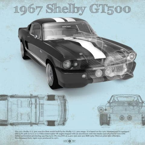 Ford Shelby Mustang GT500 Vintage Car Print