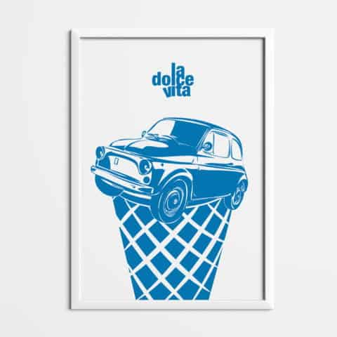 FIAT 500 la dolce vita Printed on natural white matte fine art paper, art car, illustrations, poster, birthdays gift, wall print