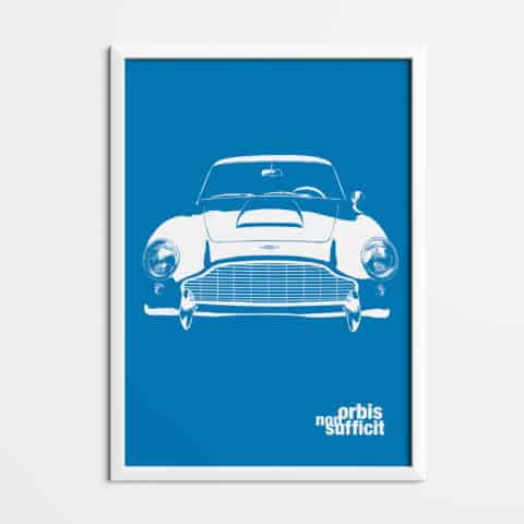 Aston Martin DB5 orbis non sufficit, Printed on natural white matte fine art paper, art car, illustrations, poster, birthdays gift