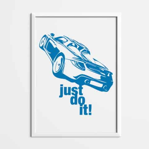 Porsche Carrera GT just do it Printed on white matte fine art paper, art car, illustrations, poster, birthdays gift, wall print