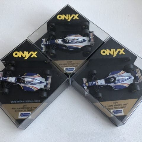 LOT of 3 David Coulthard Williams Renault FW16 & 2 x FW17 | Onyx Diecast 1:43 Cars