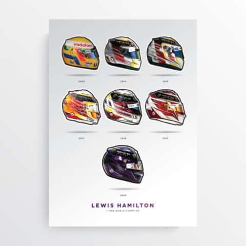 Lewis Hamilton 7 Time World Champion F1 Art Poster, F1 Gift, Formula 1, Racing Helmet, Mercedes