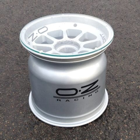 Racecar wheel coffee side table OZ racing silver metal man cave guys office bar study den accessory driving car motorsport gift