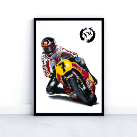 Barry Sheene Moto GP picture poster print Motorbike Sports Pencil Drawing gift Fan motorsport motorcycle Wall Art Decor