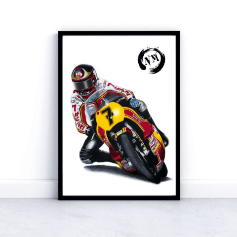 Barry Sheene Moto GP picture poster print Motorbike Sports Pencil Drawing gift Fan motorsport motorcycle Wall Art Decor