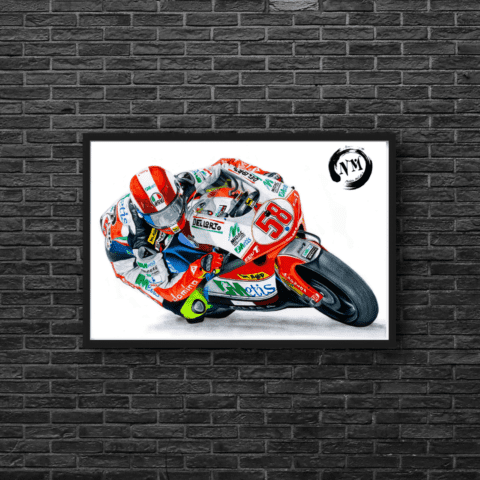 Marco Simoncelli Poster Print Wall Art A1 A2 Moto GP Motorbike Sports Pencil Drawing Decor LIMITED EDITON