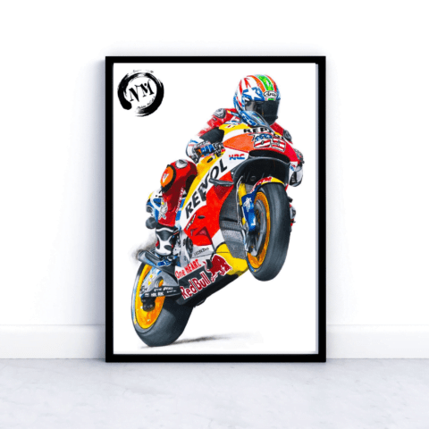 Nicky Hayden Picture Poster Print Moto GP Portrait Motorbike Sports Pencil Drawing Gift Art A4 A3 Fan Art Wall Art Decor